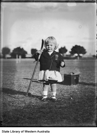 048726PD: BarbaraRowbottom, of Cottesloe, the 17 month old mascot of the W.A. Girl's Hockey Team, 1929 (Click to View)