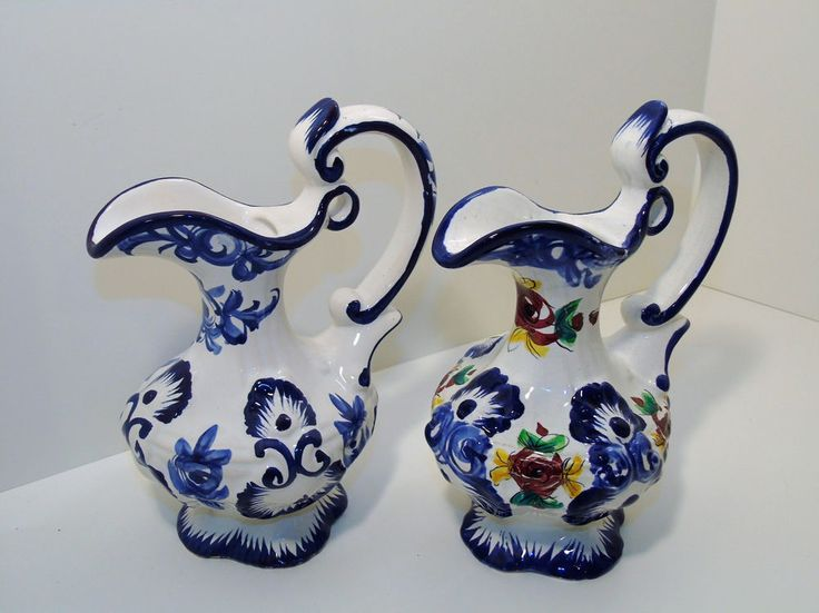 Vintage Pottery 2 Pitcher Ewers Vestal Alcobaca Portugal Hand Painted Blue/White