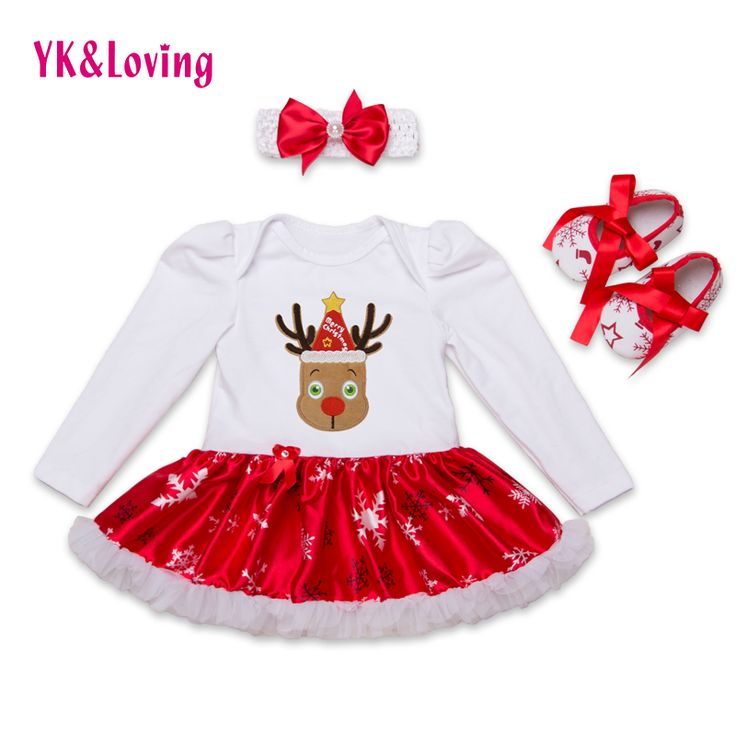 2016 weihnachten baumwolle weiß langarm mädchen strampler dress babys kleidungsätze 3 stücke neugeborenen overall-kindkleidung