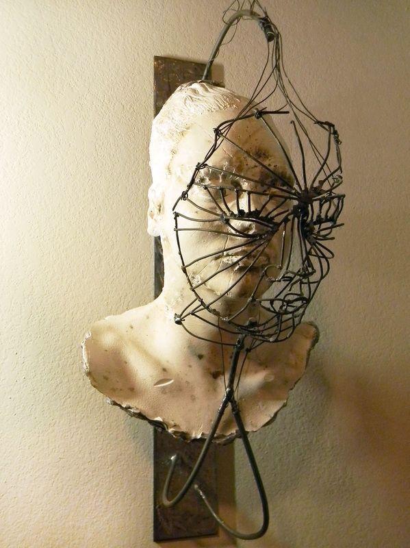 """Cameron Stalheim - """"Caged"""" 2010; Steel, Gypsum, Wire, Paint"""