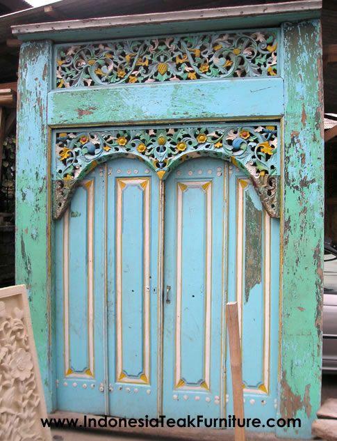 Traditional Java Carved Wood Doors Java Teak Door with Carvings & 51 best Bali wood images on Pinterest | Entrance doors Front ...