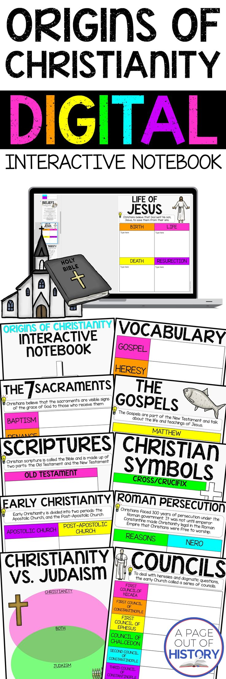 This paperless digital interactive notebook includes everything you need to teach a unit on the origins of Christianity in an engaging way! This resource covers the beginning of Christianity to the expansion of Christianity and the early councils.  The organizers in this resource can be used on their own, or as a supplement to student note. Interactive notebooks are a great tool to keep students organized and engaged in the lesson!