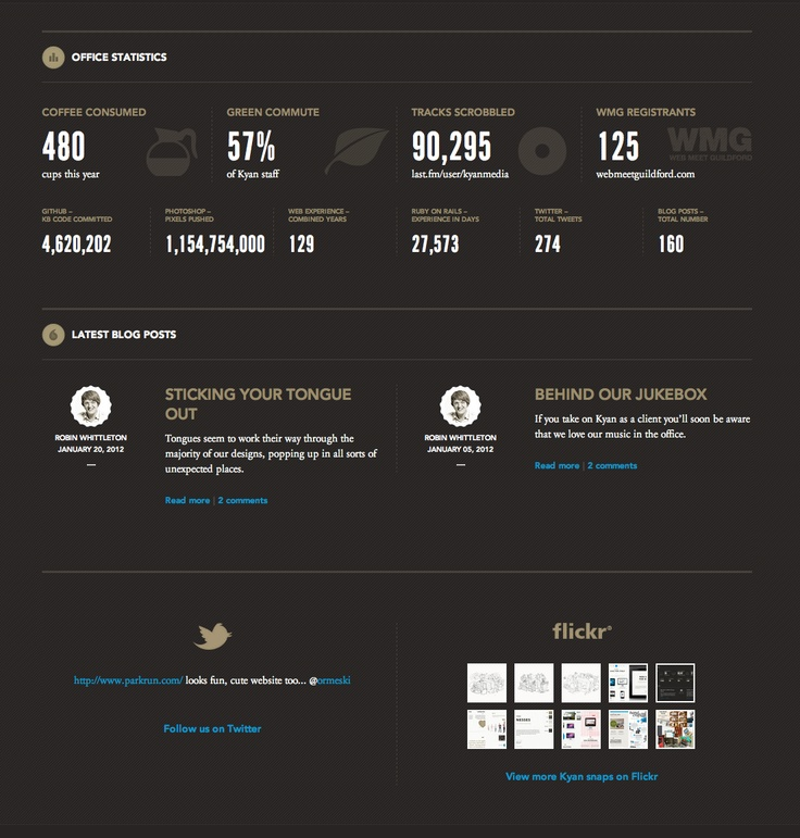 kyan.com/projects  Cool personal info graphic in as the footer (NetIQ is small enough to care)
