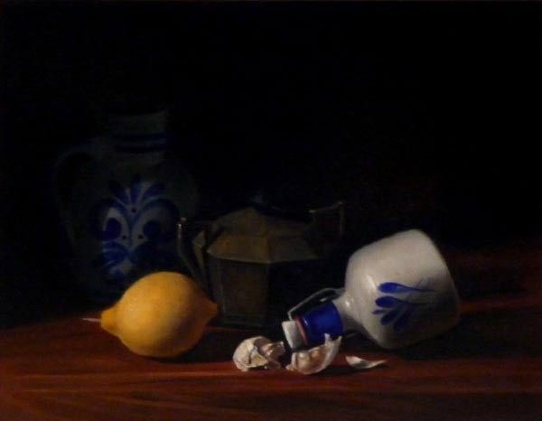 Peter Barker lemon and garlic,oil on canvas, size, 30 x40cm