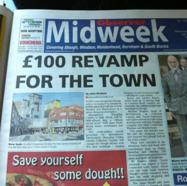 Hilarious typo of the day - Slough spends some serious dough on revamp!Funny Stuff