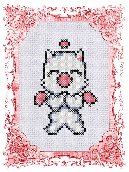 Final Fantasy Cross Stitch Pattern - Moogle - Beginner 14ct Aida