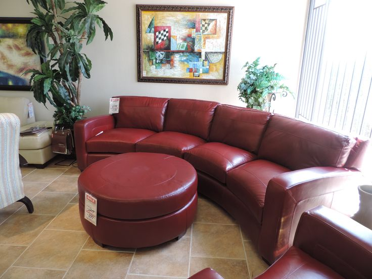 Red Leather Sectional Sofa With Matching Chair And Ottoman