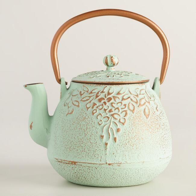 Crafted of cast iron with an embossed design of grapevines, the Japanese symbol for the blessings of natural, our exclusive light green teapot is a great gift for tea aficionados. This traditional teapot includes a stainless steel infuser basket for brewing loose-leaf teas right in the pot. affiliate link