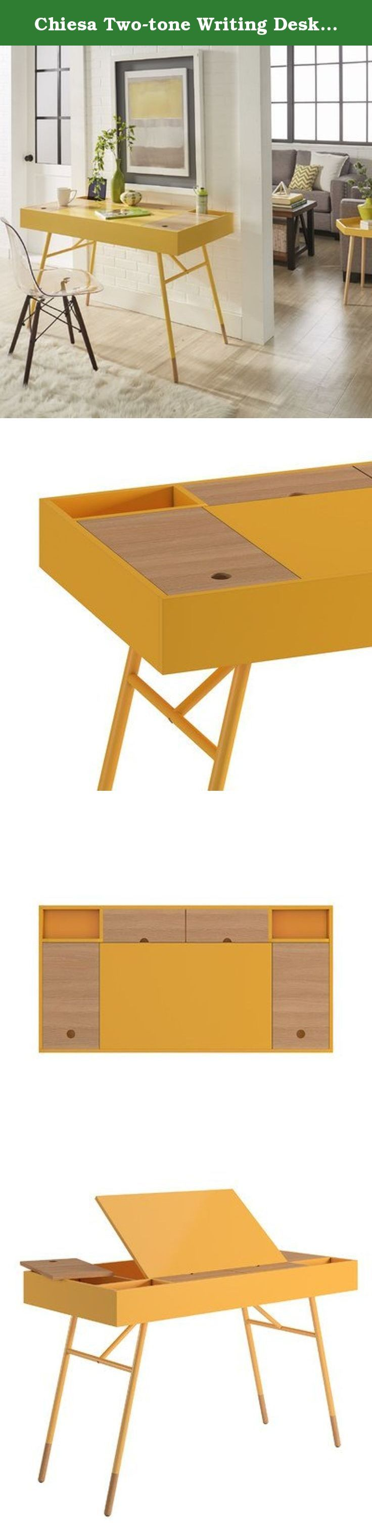 Chiesa Two-tone Writing Desk with Flip-Up Drawer In Yellow. Features: Chiesa collection; Two-tone flip up drawer included; Flip up drawers on the desk desk area for additional organization and storage space; Includes a hidden power plug hub electric outlet for cable management; Minimalist design Product Details: Desk Type: Writing desk; Assembly Required: Yes; Product Warranty: 1 Year manufacturer's warranty.