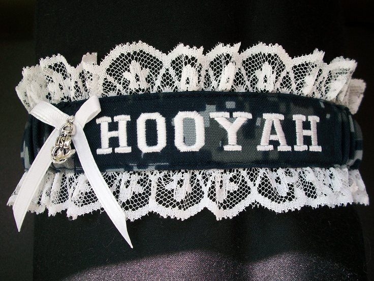 Lace  and Navy digital fabric Garter with HOOYAH embroidered on it. $16.00, via Etsy. I WANT!!!