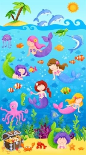 For Little Ones : Little Mermaids Turtles Shells Starfish Fabric Panel