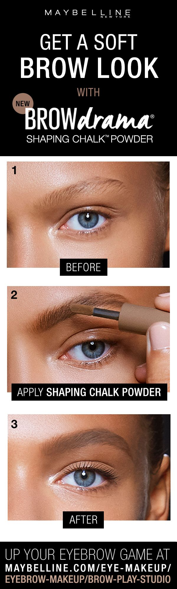 Up your eyebrow game with the NEW Brow Drama Shaping Chalk Powder. The loose powder formula fills in smooth color, while the thick-to-thin brush applicator creates instant definition. Flawlessly shaped brows are made easy. Click through to find your perfect brow product!