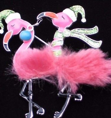 NWT-ISLAND-LIFE-CHRISTMAS-SANTA-PINK-FLAMINGO-BIRD-PIN-BROOCH-JEWELRY-DANGLES-3-034