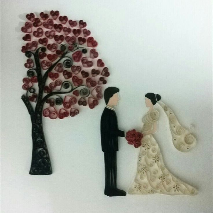 Paper quilling bride and groom