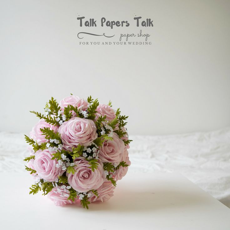 Blush pink wedding - Rose bouquet www.talkpaperstalk.etsy.com #paperflowers…