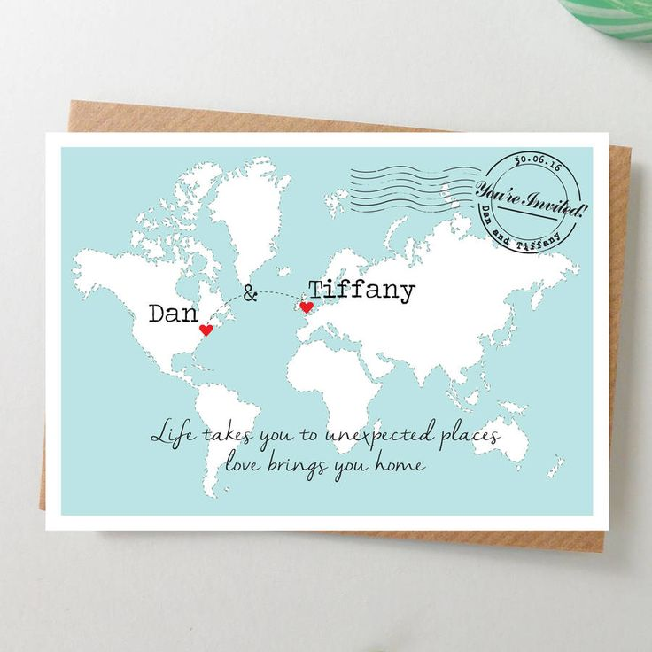 World Map Wedding Invitation Postcard