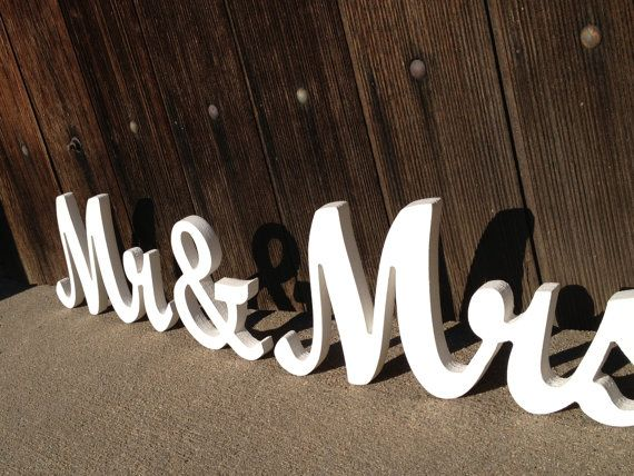 Mr. And Mrs. wooden signs in elegant script font for wedding reception, sweetheart table, or anniversary present on Etsy, $40.00