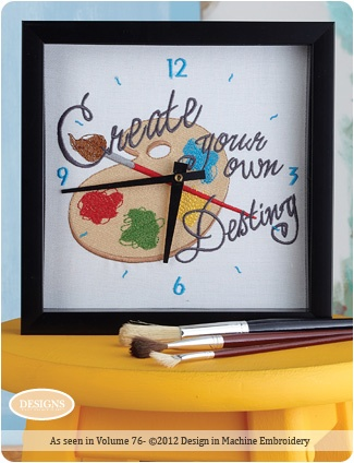 Published in Designs in Machine Embroidery 2012.  How to create a customize clock with embroidery.