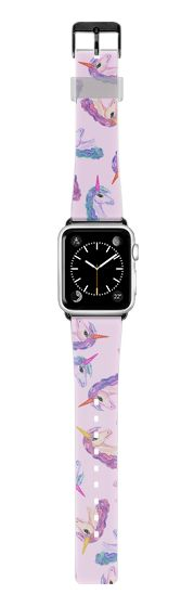 Casetify Apple Watch Band (38mm) Saffiano Leather Watch Band -  Cute Girly Unicorn Horse Pink Purple watercolor Animal Pattern by BlackStrawberry