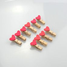 100Pcs Rose Red Mini Heart Shape Wooden Peg Clips Wedding Party Gift Card Favor (China (Mainland))