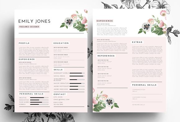 Professional CV in PSD and Word file by Emily's ART Boutique  on Creative Market