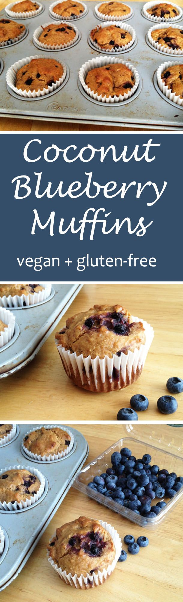 These vegan and gluten-free blueberry muffins with a hint of coconut are a delicious way to start your day!