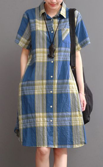 Blue plaid cotton dress oversize summer causal dresses