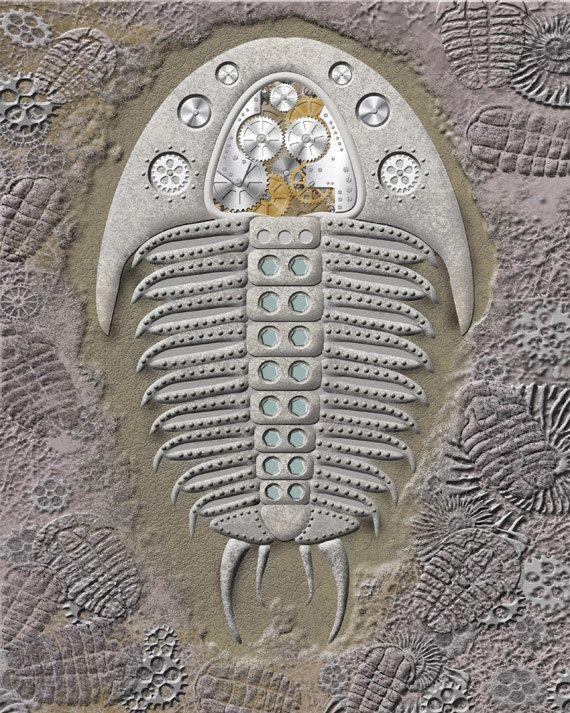 Steampunk Fossil Trilobite Steampunk Animal 8 by BotanicalMandalas