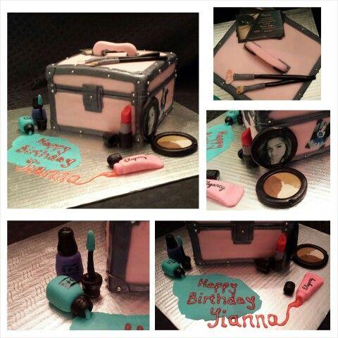 Anna's cake creations!  Fun custom make-up case cake & fondant cosmetics! Love the edible images!