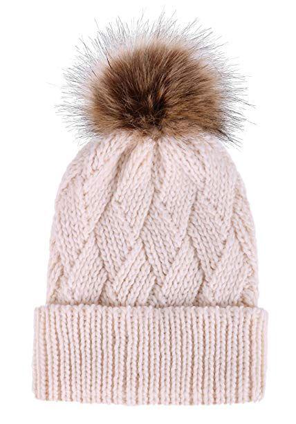 4d1981751c5 Arctic Paw Diamond Weave Knit Beanie with Faux Fur Pompom