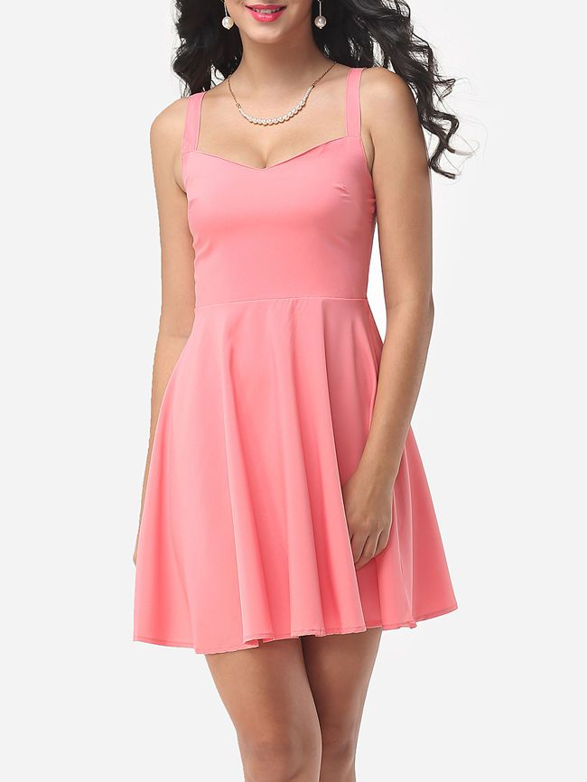 Plain Captivating Spaghetti Strap Skater-dress