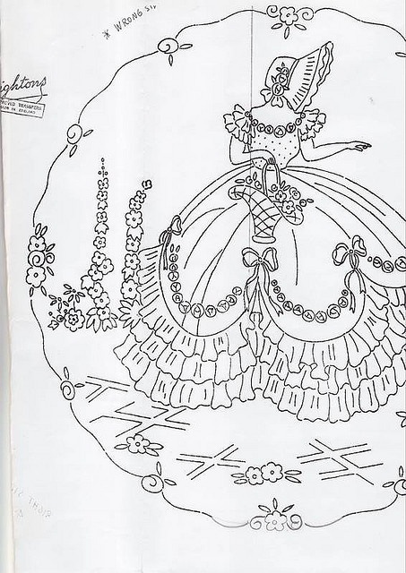 Sunbonnet Sally, hollyhocks and all - embroidery pattern for a southern belle