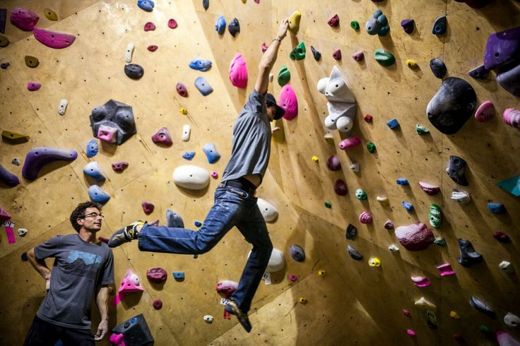 Getting climbing tips from pros Emily Harrington and Cedar Wright.