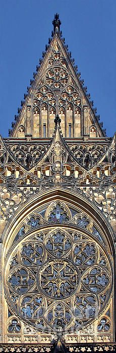 Details of Rose Window-Exterior of the St. Vitus Cathedral - Prague,  CZECHIA  (by Christine Till)