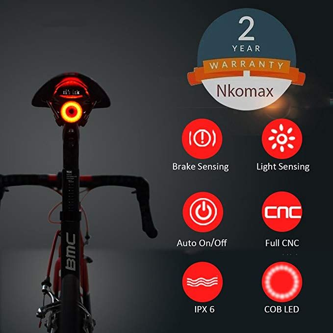 Nkomax Smart Bike Tail Light Ultra Bright Bike Light Rechargeable