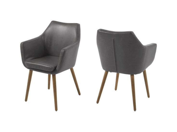 Krzesło Nora szare ekoskóra nogi drewniane — Krzesła Actona — sfmeble.pl