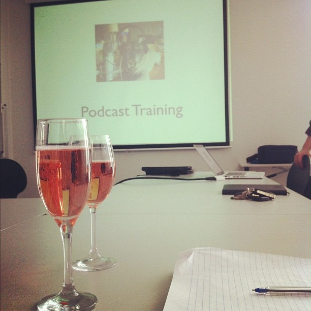 Podcast training with the Sydney Writers' Centre team ... With bubbles!