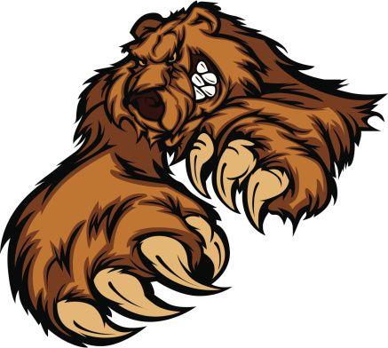 Grizzly Bear Mascote corpo com patas e garras - ilustração de arte vetorial