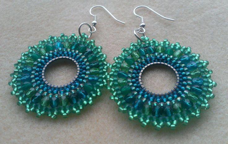 Seagreen Beaded hoop earrings. Gypsy, hippie, boho, tribal style earrings in shades of Green and Teal. Made in Denmark. by AnnesKrummelurer on Etsy