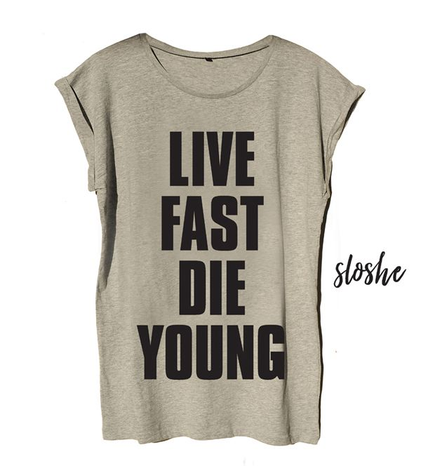 Live fast die young, szary bawełniany t-shirt