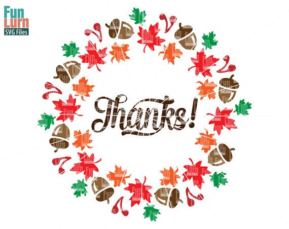 Thanks SVGFall wreath maple leaf acorn cranberries  by FunLurnSVG