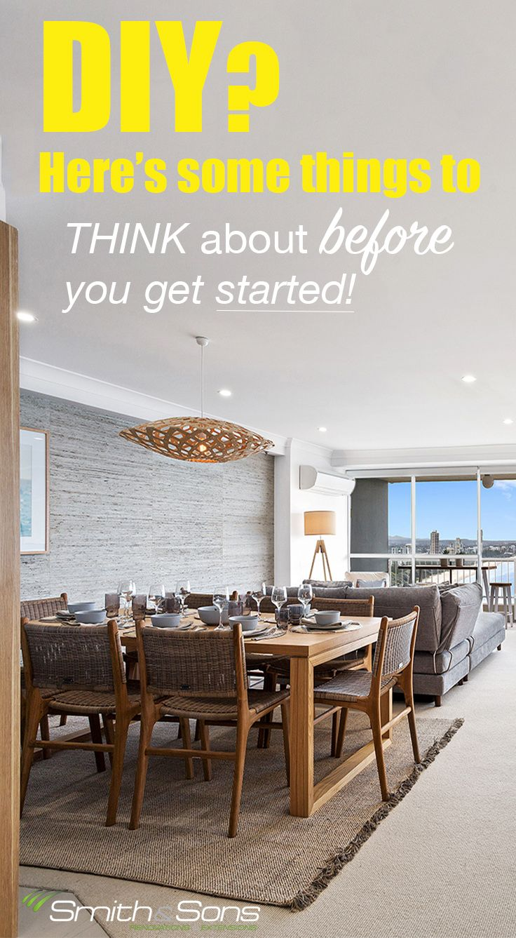 Thinking of a DIY Renovation? Follow us for more renovation tips/ advice and considerations!  www.smith-sons.com.au
