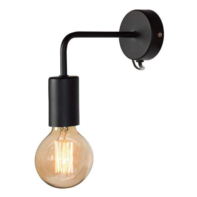 Trendy wandlamp Balor met grote fitting. Kleur: zwart.