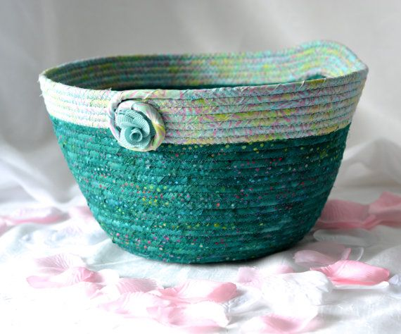 Turquoise Artisan Bowl Handmade Sea Glass Quilted Basket