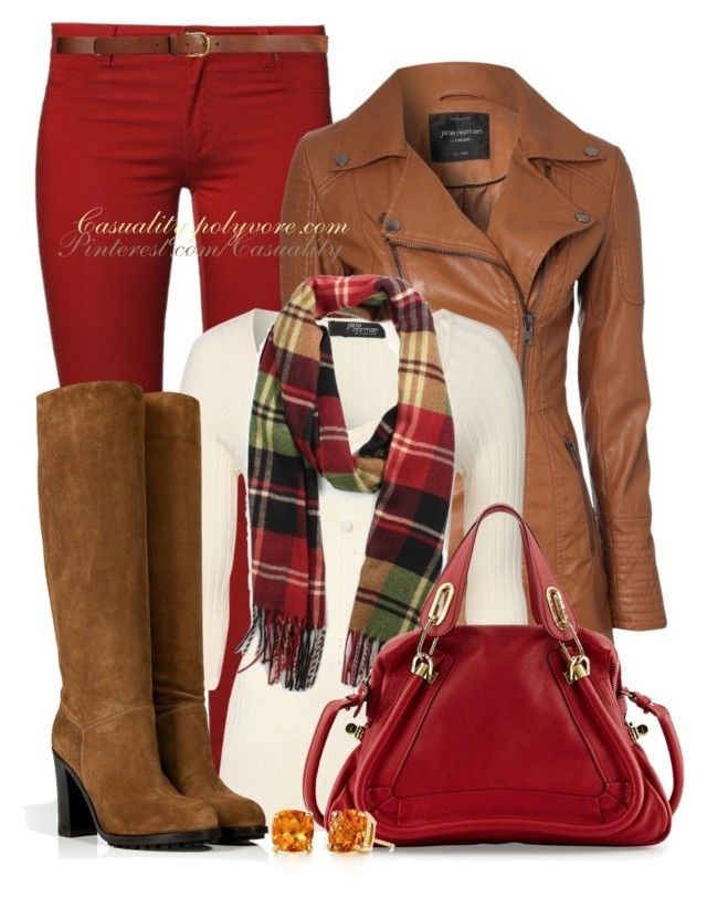 """""""Red Pants for Autumn"""" by casuality ❤ liked on Polyvore featuring 2nd One, Jane Norman, L'Autre Chose, Chloé, Tiffany & Co. and H&M"""
