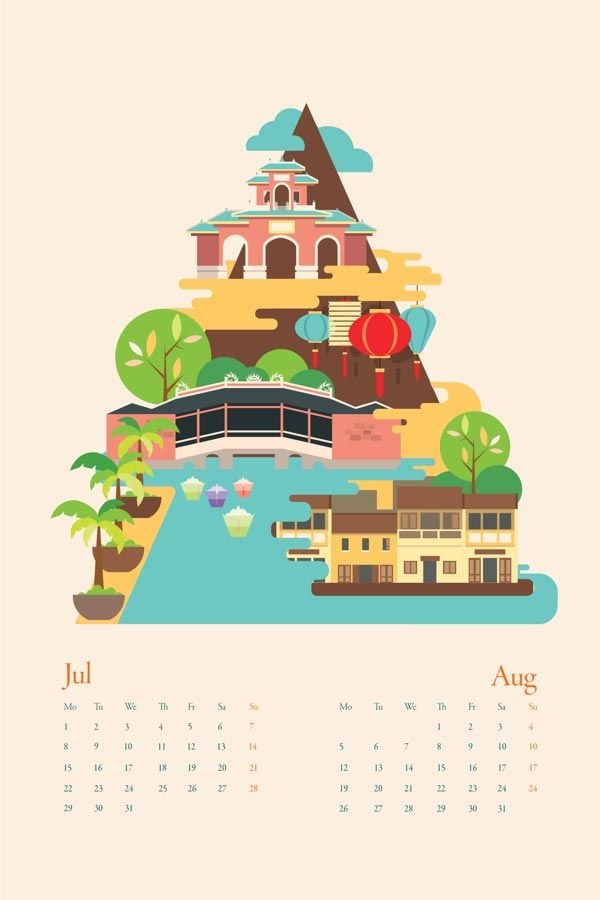 Vietnam Calendar City Illustration by Tu Bui