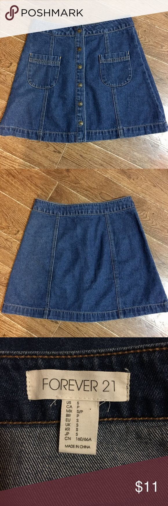 Forever 21 - adorable and versatile denim skirt Forever 21 brand adorable and versatile denim skirt size small. In fantastic preowned condition. Please check out all my other boutique items, and remember to bundle and save. Super fast shipping! Forever 21 Skirts Mini