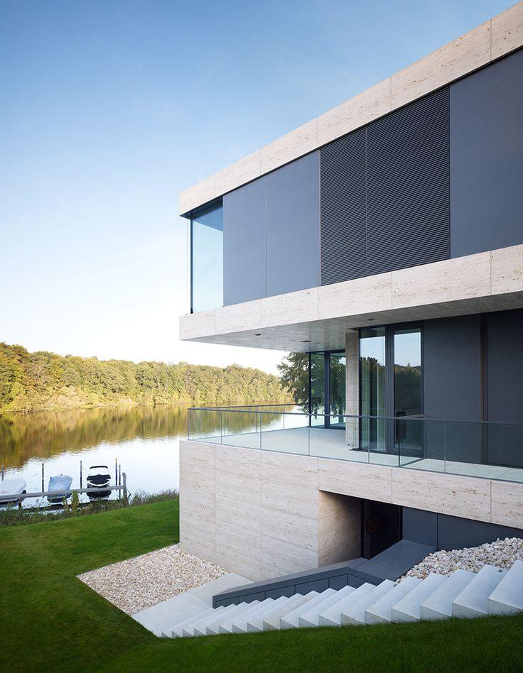 Stadtvilla klinker hell for Hausbau moderner baustil