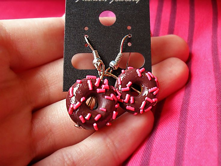 Chocolate doughnut earrings, sprinkly and small. 1:12 scale polymer clay, handmade at The Fairy Factoree