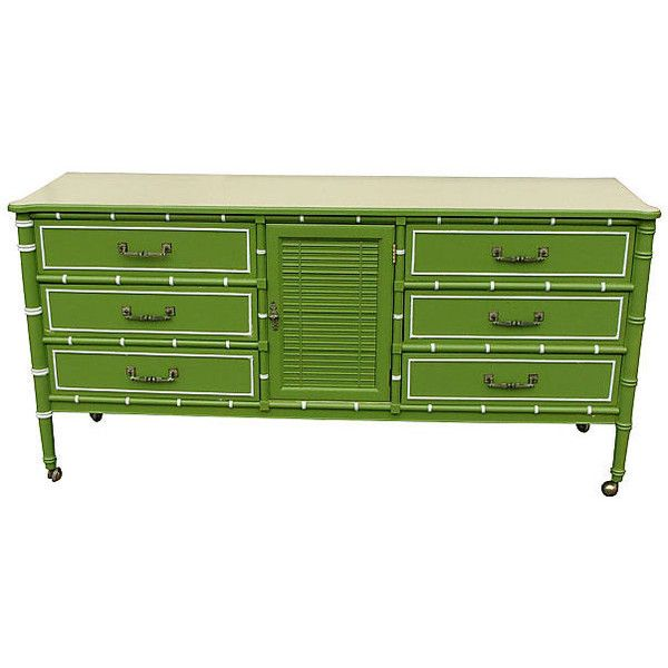 Pre-Owned 1960s Palm Beach-Style Dresser ($845) ❤ liked on Polyvore featuring home, furniture, storage & shelves, dressers, 60s furniture, hardware furniture, green painted furniture, secondhand furniture and green furniture